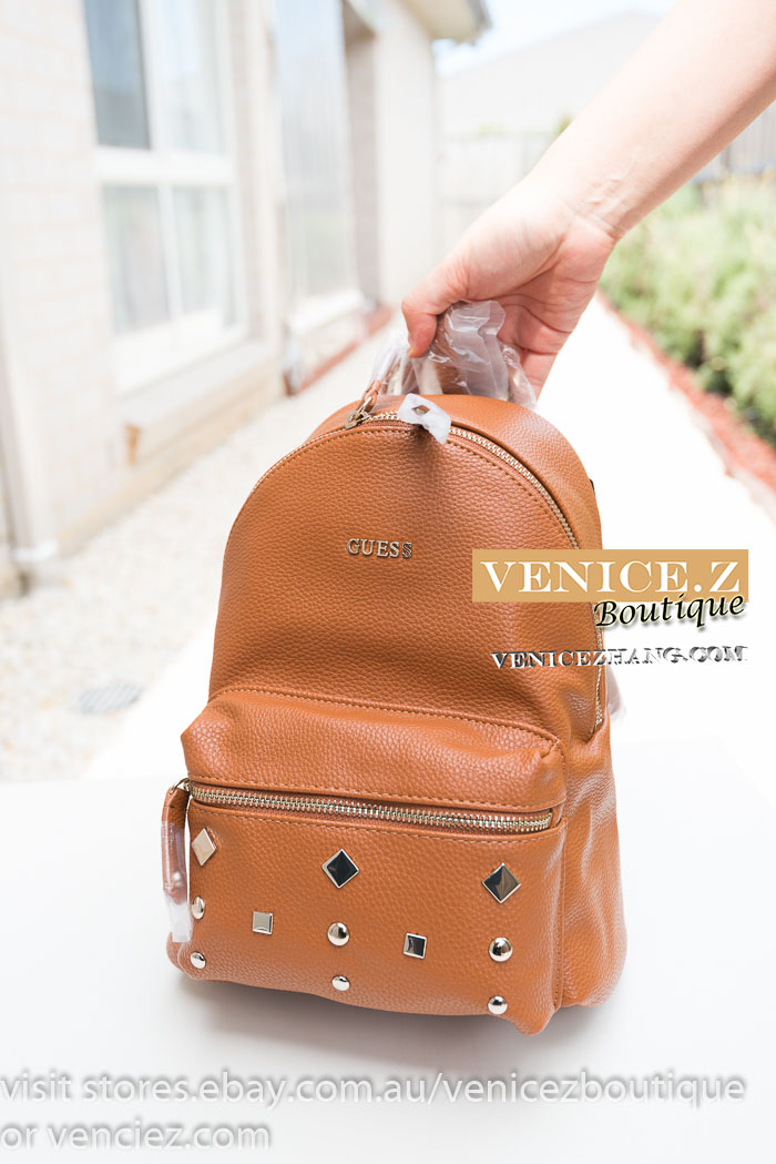 203563b204 SALE! BNWT GUESS CARSON Stud Small Backpack Shoulder Bag Black Cognac