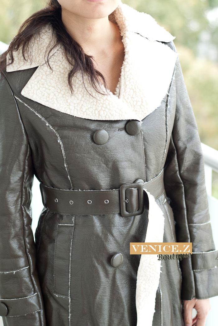 j11 BNWT Faux Leather Fur Jacket Heavy Winter Coat Brown Green